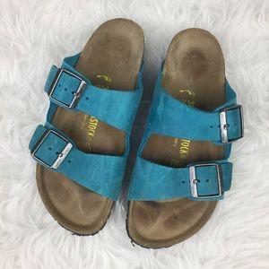 Birkenstock Arizona Sandals Sz 38 Narrow Blue RARE